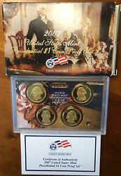 2007 S Presidential Dollar 4 Coin Proof Set Original Packaging And Coa