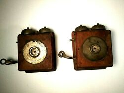 2 Antique Oak Wall Telephone Boxes Page Electric Company Worcester Mass.