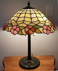 Arts And Crafts Chicago Mosaic Or Lamb Brothers Leaded Slag Glass Table Lamp