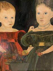 American Primitive Antique Oil On Board Of Two Young Women