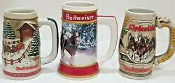Fathers Day 1980's Budweiser Holiday Christmas Beer Stein Mug Lot Of 3 Vintage