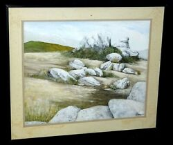 1985 California Oil Painting Boulders And Grassland Father Bill Moore Ss.cc.sta