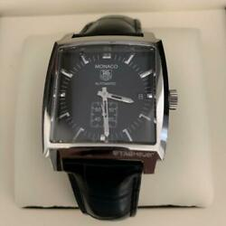 Auth Tag Heuer Watch Monaco Ww2110.fc6177 Date See-through Back At Black 37mm