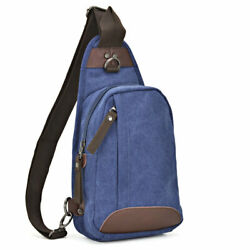 Dasein Men#x27;s Chest Bag Canvas Crossbody Sling Backpack for Travel Hiking Cycling $16.99