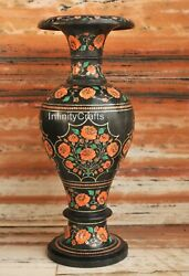 21 Inches Marble Vase Floral Pattern Inlaid Royal Look Garden Decor Flower Pot