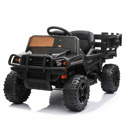 12v Electric Battery Powered Tractor Car Toy W/ Trailer Light Remote For Toddler