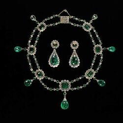 Antique Vintage Style Green Cabochon And Diamond Necklace With Matching Earrings