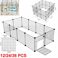 12/24/36 Panel Metal Tall Dog Playpen Large Crate Fence Pet Cat Exercise Cage
