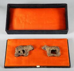 Rare Pair Of Tang Dyansty Bronze Buckle In The Shape Of Bears Ca. 618-906 Ad