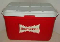 Vintage Gott 48 Qt Red And White Cooler W/ Tray Budweiser Advertisement