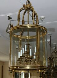 Large Monumental Georgian Brass And Glass Cylindrical Lantern Chandelier