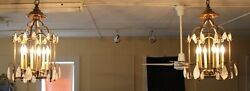 Wow French Solid Brass Cage Form Rock Crystal 6 Light Lanterns