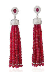 4.60ct Natural Round Diamond 14k Solid White Gold Ruby Wedding Tassel Earring