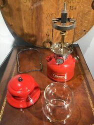 Vtg Very Nice 3-1961 Model 200a Red Coleman Lantern And Red Coleman Globe