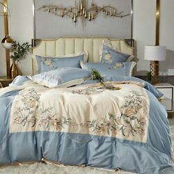 4pcs Chinese Style Egypt Cotton Embroidery Bedding Set Duvet Covers King Queen