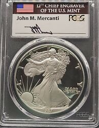 1987-s Pcgs Pr70 Dcam Mercanti Signed American Silver Eagle S1 Proof Pf 70
