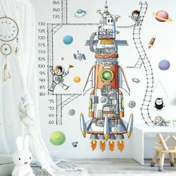 Wall Stickers Spaceship Rocket Height Measure Nursery Decals Home Decorations