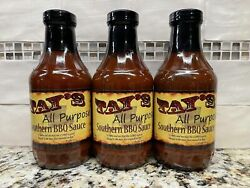 3 Bottles Tay's All Purpose Southern Bbq Sauce 16 Oz Central Pork Ribs