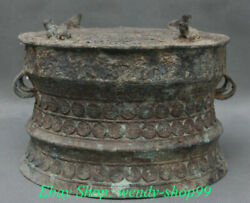 8 Old Chinese Bronze Ware Dynasty Palace 4 Frog Word 2 Ear Beast Drum