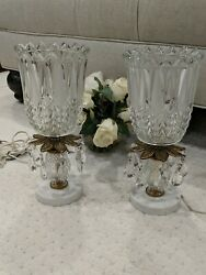 Vtg Crystal Lamps Night Stand Vanity Boudoir Pair Prisms Candelabra Table Etched