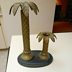 Vintage Heavy Metal Brass Double Palm Tree Candle Holders Candlesticks Oval Base