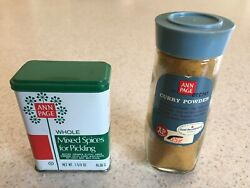 Lot Of 2 Vintage Ann Page Spice Containers Glass Bottle And Tin Container