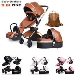 Leather Pu Waterproof 3 In 1 Two-way Push 360 Rotate Baby Car Seat Trolley