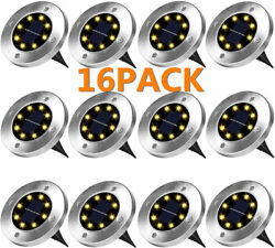 16pack 8 Led Solar Power Flat Buried Light In-ground Lamp Outdoor Path Garden