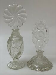 Rare Vintage Art Deco Cut Clear Glass Perfume Bottle With Stopper Set Of 2