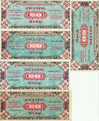 Germany-lot-5 20 Mark Allied Military Currency1944 Ef P195-bdealers Lot