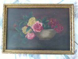 Antique 19th Cent. Oil Painting On Canvas Roses Framed