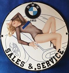 Vintage Style 1953 Andldquobmw Sale Serviceandrdquohot Pinup Porcelain Sign 12 Inches