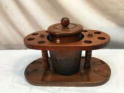 Vintage Walnut Lord Chesterfield 6- Pipe Stand With Amber Glass Humidor