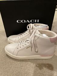 Coach Clip Leather Hightop Sneaker-chalk/blossom,size 8.5,excellent,box Included