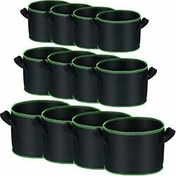 12 Pieces Black Gallon Plant Grow Bags With Handles 1/3 / 5 Gallon Vegetable/...