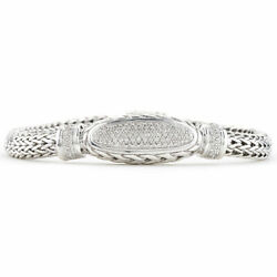 John Hardy Classic Sterling Silver Pave Diamond 6.5 Mm Chain Collection Bracelet