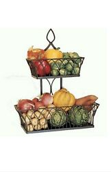 Nib Southern Living At Home Tiered Farmhouse Basket 2 Bins Vintage Look Kitchen