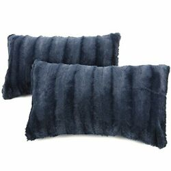 Cheer Collection Faux Fur Throw Pillows Set of 2 Lumbar Couch Pillows 12quot;...