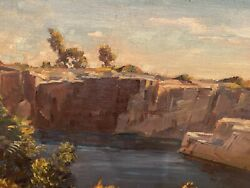 Gustave Cimiotti - Extraordinary Landscape Oil On Panel. Signed Lr.