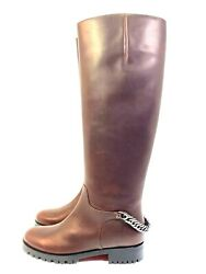 Christian Louboutin Croche Cate 20 Brown Calf Leather Chain Riding Boots Euro 36