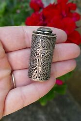 Antique Silver Filigree Small Pill / Trinket Box With Clear Stone - 14.0 Grams