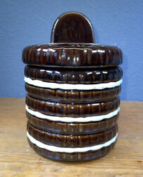Vintage 1970 Ceramic Stacked Oreo Cookie Jar W/lid Collective Taiwan