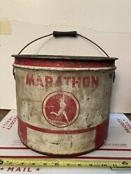Old Vintage Marathon Best In Long Run Advertising Grease Tin Can Indian Graphics