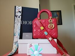 4700 Lady Dior Abc Red Lambskin Gold Hw Small Bag