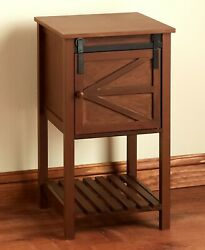 Barn Door-style Wood Side Table Storage Farmhouse Rustic Country Home Decor