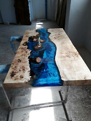 Epoxy Acacia Wood Resin River Dining Center Table Handmade Collectible Furniture