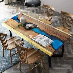 Blue Resin Handmade Epoxy River Blue Acacia Wood Dining Table Office And Home Deco
