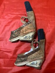 """Antique 19th C Qi'ing Chinese Embroidered Silk Bound Foot Lotus Shoes 3.4"""" 6"""