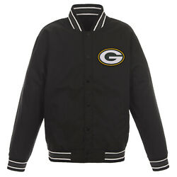 Nfl Green Bay Packers Poly Twill Jacket Black One Patch Logo Jh Design