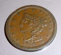 1850 Braided Hair Copper Half Cent, Nicer Than Other Offerings But Half As Much